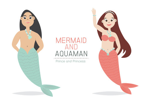 Mermaid and Aquaman Cartoon Character design.