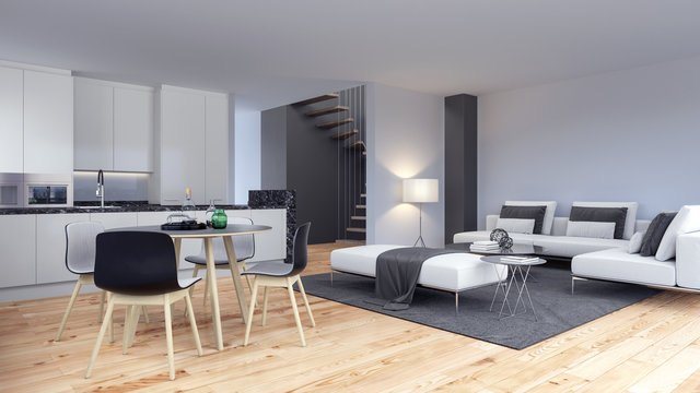 Modern interior loft apartment design with living room and kitchen 3D Rendering