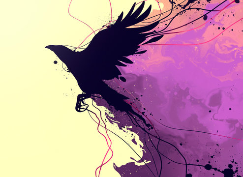 drawing of a raven with elements of abstraction and splashes