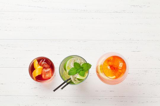 Three classic cocktail glasses