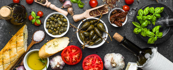 Ingredients for mediterranean food on black background