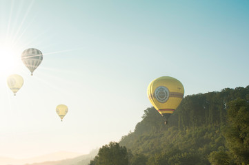 Arnsberg, North Rhine Wesstphalia/Germany - August 31st 2019: Start of the hot air balloons in Oeventrop/Arnsberg in the morning mist. Warsteiner International Montgolfiade is the organizer.