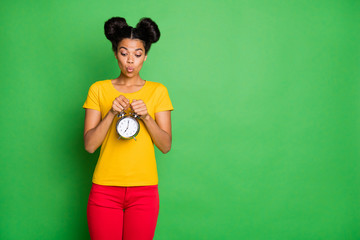 Photo of amazing dark skin lady holding big metal alarm clock waiting it start ringing wondered what time is it wear casual yellow t-shirt red pants isolated green background