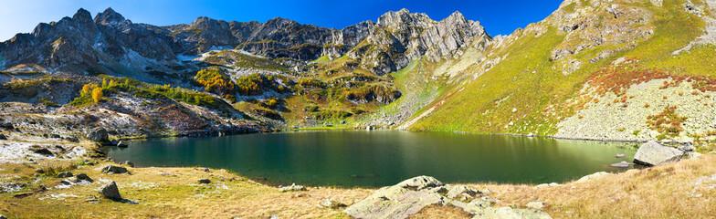 autumn landscape panorama of mountain lake