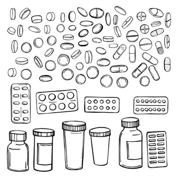 Hand drawn pills and medicines .  Vector sketch  illustration.