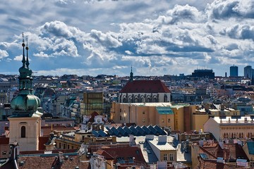 A view from above of the center of Prague. The main tourist attractions.