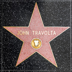 closeup of Star on the Hollywood Walk of Fame for John Travolta