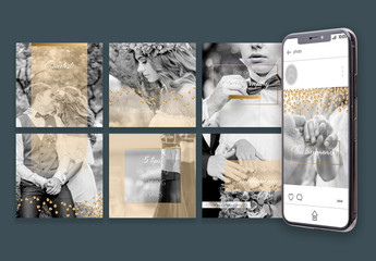 Social Media Post Layout Set with Gold Overlay and Sequins