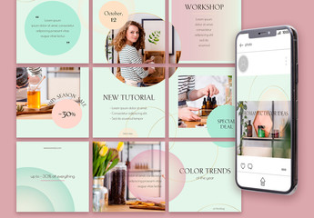 Social Media Post Layout Set with Mint And Pink Gradients