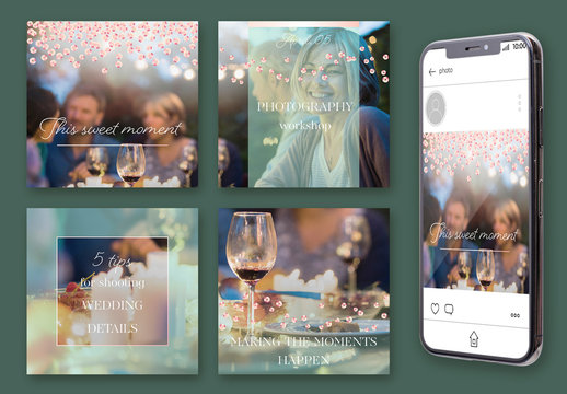Social Media Post Layout Set with Mint Overlay and Pink Sequins