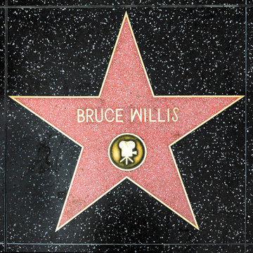 closeup of Star on the Hollywood Walk of Fame for Bruce Willis