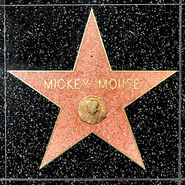 closeup of Star on the Hollywood Walk of Fame for Mickey Mouse