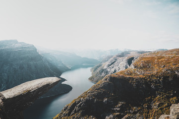 Obraz Breathtaking views of Norwegian national park, river and fjords at bright day. - fototapety do salonu