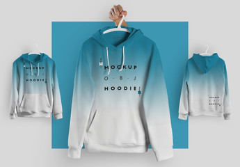 4 Mockups of Hooded Sweatshirts on Hangers