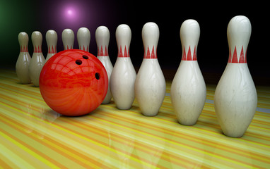 Bowling background with pins and ball.