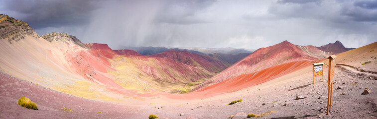 Colourful rock formations in the mineral-rich mountains of Red Valley. Cordillera Vilcanota, Cusco, Peru