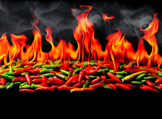 In de dag Hot chili peppers Group of Red Hot chili pepper on fire and smoke