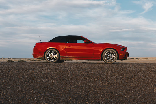 BONNEVILLE ,UTAH, USA JUNE 4, 2015: Photo of a Ford Mustang Convertible 2012 version at Bonneville Salt Flats,Utah,USA. The fifth generation began with the 2005 model year to 2014.