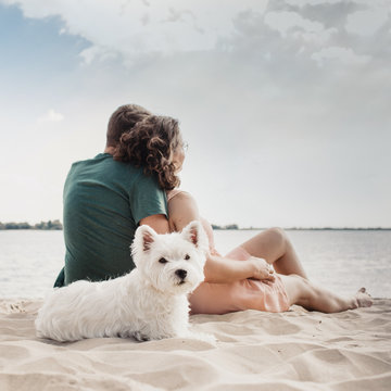 Couple sitting on the bench with the dog