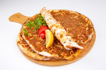 Traditional delicious Turkish food; Turkish pizza; Lahmacun