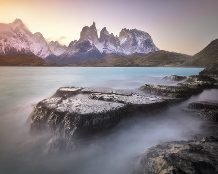 Pehoe Lake and Cuernos Peaks in the Evening, Torres del Paine National Park, Chile