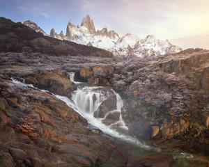 Panorama of Rio De la Cascada and Fitz Roy in the Morning, Los Glaciares National Park, Argentina