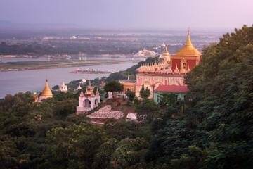 Sedi La Su Taung Pyae Pagoda and Irrawaddy River in the Evening, Sagaing Hill, Myanmar