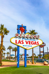 famous Las Vegas sign at city entrance, detail at daytime