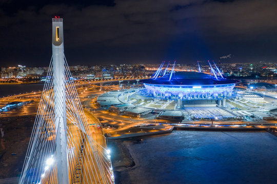 ST. PETERSBURG, RUSSIA - MARCH, 2019: The Neva River flows into the Gulf of Finland. High-speed highway. Stadium Zenit Arena. Cities of Russia. View from quadrocopter drone flight