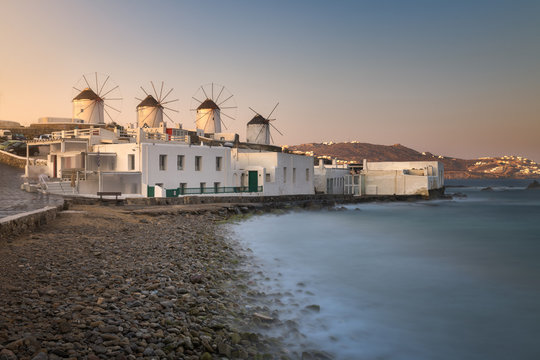 Old Windmills in Chora at Sunrise, Mykonos, Greece
