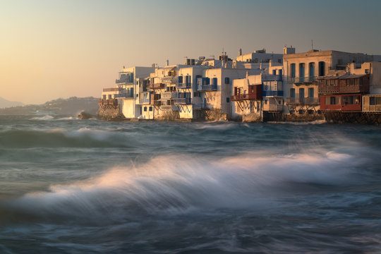 Little Venice in Chora at Sunset, Mykonos, Greece