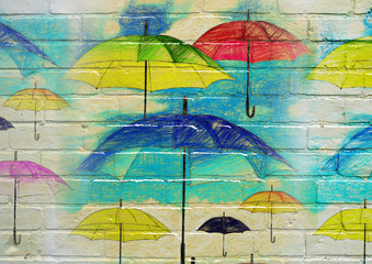 Custom vertical slats with your photo Street art.Parapluies multicolores