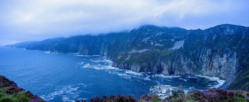 Panoramic of a foggy, moody Slieve League cliffs on the wild Atlantic way, County Donegal, Ireland