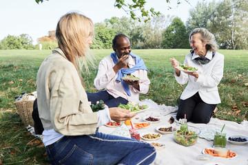 Senior friends eating healthy food picnic.