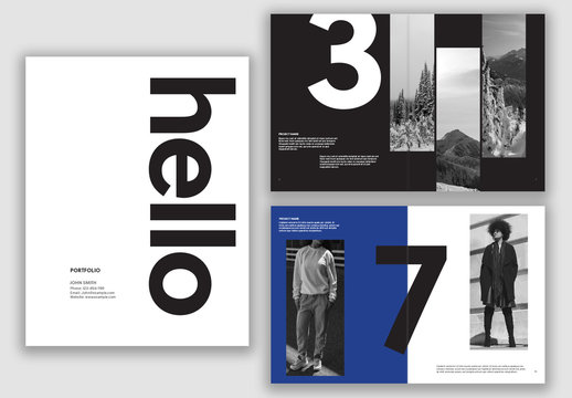 Blue and White Portfolio Layout with Bold Text