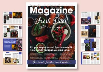 Blue and White Magazine Layout