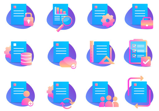 Blue Set of Document Related Color Vector Flat Icons. Analytical business documents with arrows. Web Cloud information. Vector flat icon set