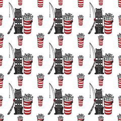 seamless pattern with big Cat fisherman. Vector