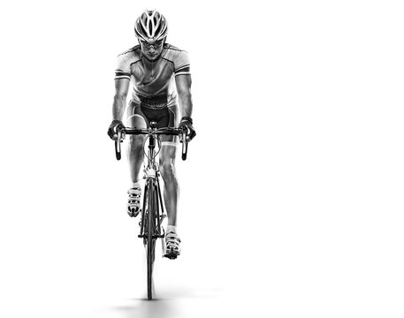 Sport. Athlete cyclists in silhouettes on white background.