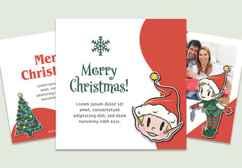 Christmas Social Media Post Layout Set with Illustrative Elements