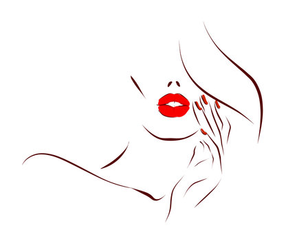 Woman's face, hair, hand. Lips with red lipstick and nails with red nail polish. Hand drawn illustration on the theme of beauty and care. Vector