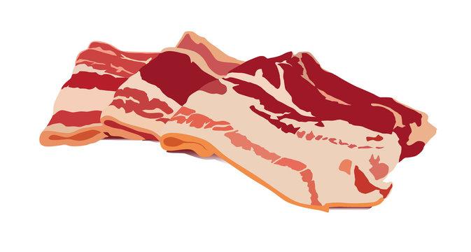 fresh bacon realistic vector illustration