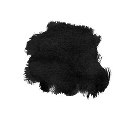 Black ink brush stroke on white background. Freehand ink splatter handdrawn illustration. Ink brush blot. Brushed spot for hand-drawn lettering