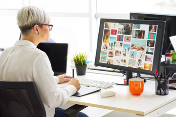 Woman using graphic tablet