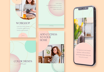 8 Social Media Stories Layouts with Gold Circles and Mint Gradients