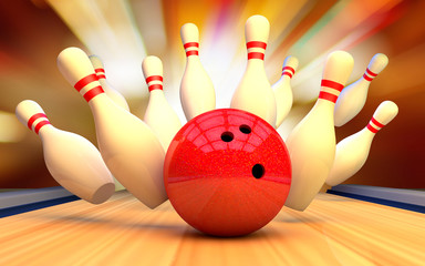Bowling strike with a ball and skittles