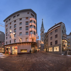 Fotomurales - Panorama of Via Maistra and Reformed Church St Moritz in the Evening, St Moritz, Switzerland