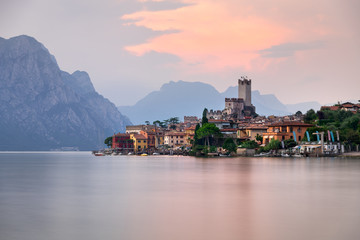 Lake Garda and Town of Malcesine in the Evening, Italy
