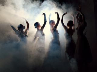Photo sur Plexiglas Commemoratif Ballerinas in dresses posing in fog