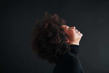 Mature afro hairstyle woman.